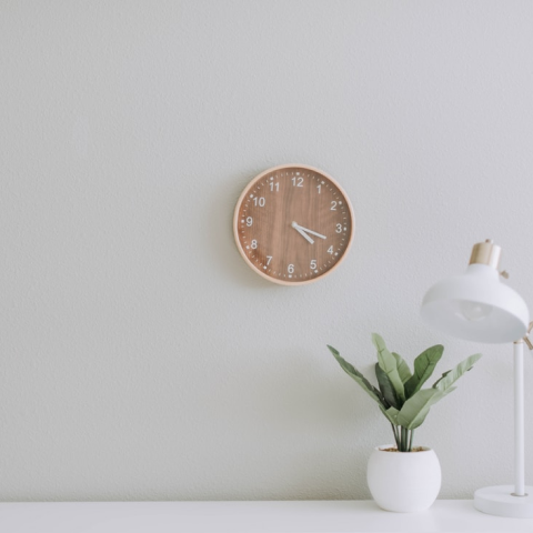 Photo of a desk with a plant and a clock on the wall